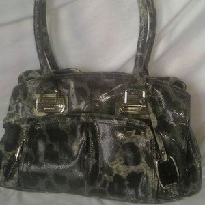 B MAKOWSKY Grey Black Animal Print Handbag Purse